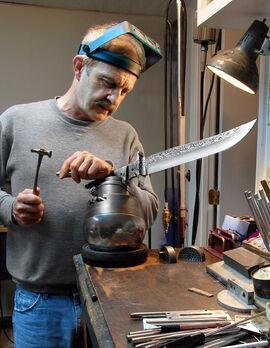 Jere Davidson ENGRAVING a large knife