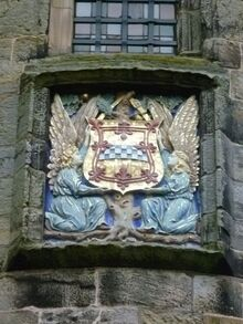 800px-Armorial tablet of the Stewarts, Falkland Palace, Fife Scotland