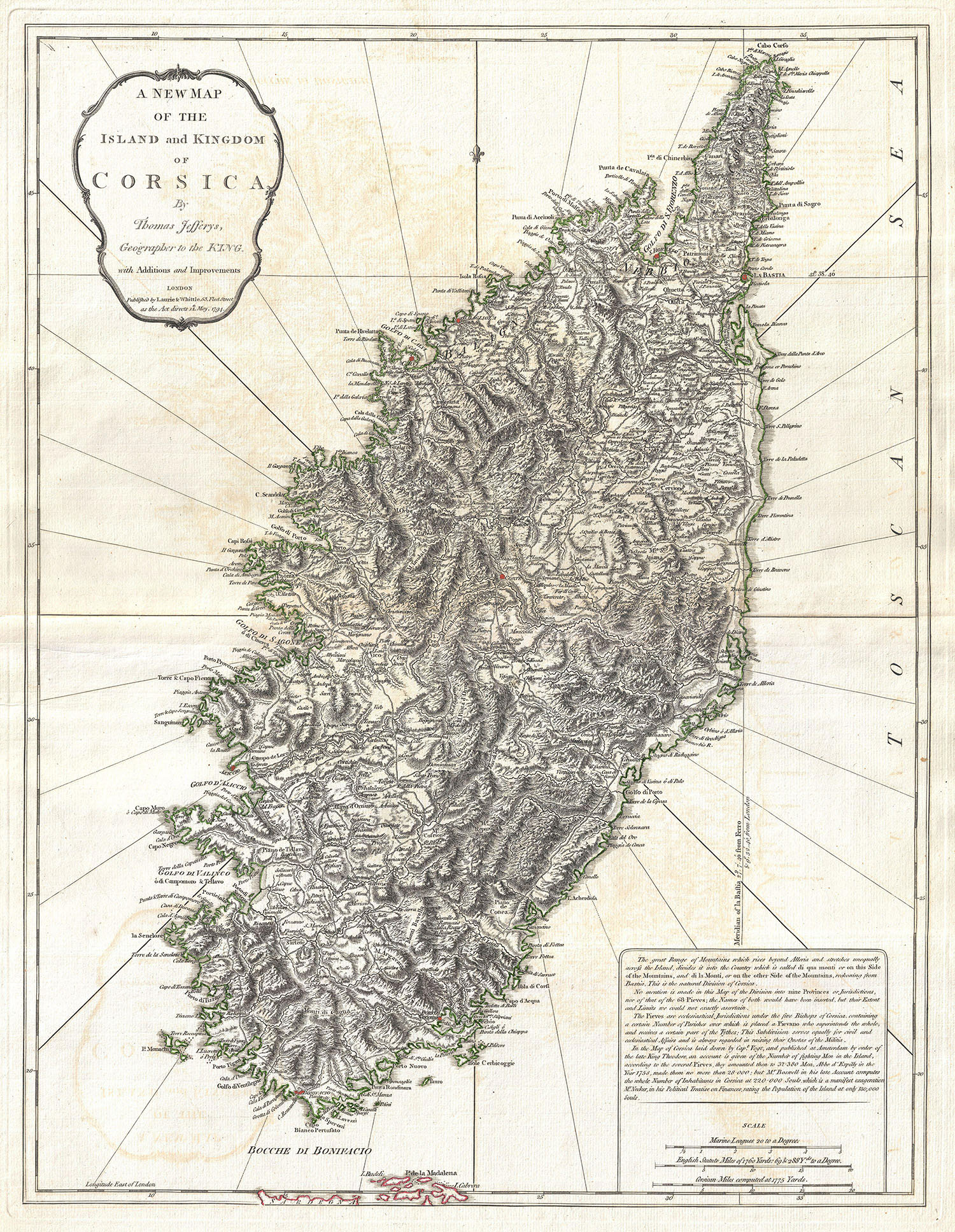 Image 1794 Jeffreys Map of Corsica France Geographicus