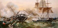 The-War-of-1812-naval-battle-between-the-U-S-frigate-Constitution-and-the-British-warship-Guerriere