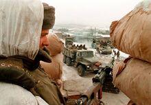 Подготовка к штурму в близи Грозного
