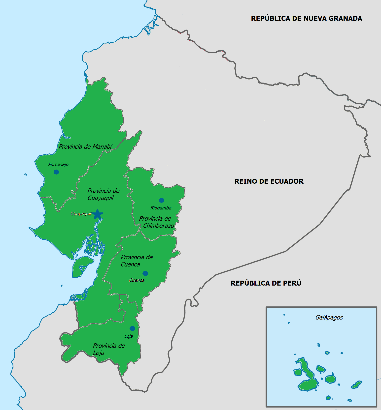Imagen mapa de la repblica unida de guayaquil y cuencag resolucin original gumiabroncs Images