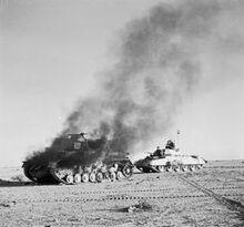 Crusader Tank and German Tank