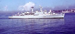 05 HMS Devonshire after explosion Lisbon Sept 76