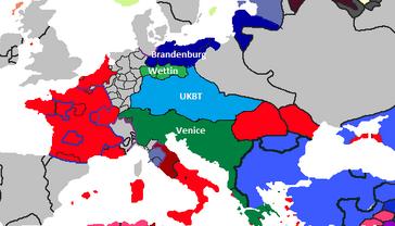Rough outline of lands post war