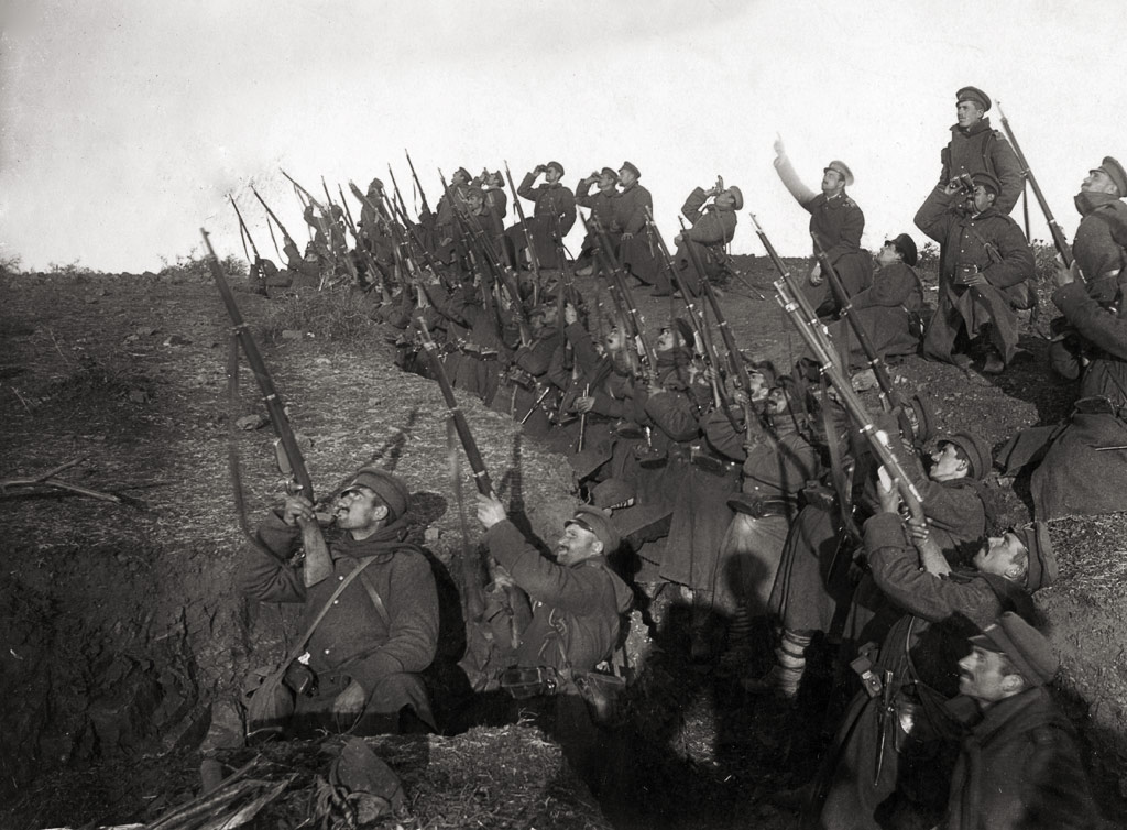 Bulgarian soldiers in a trench preparing to