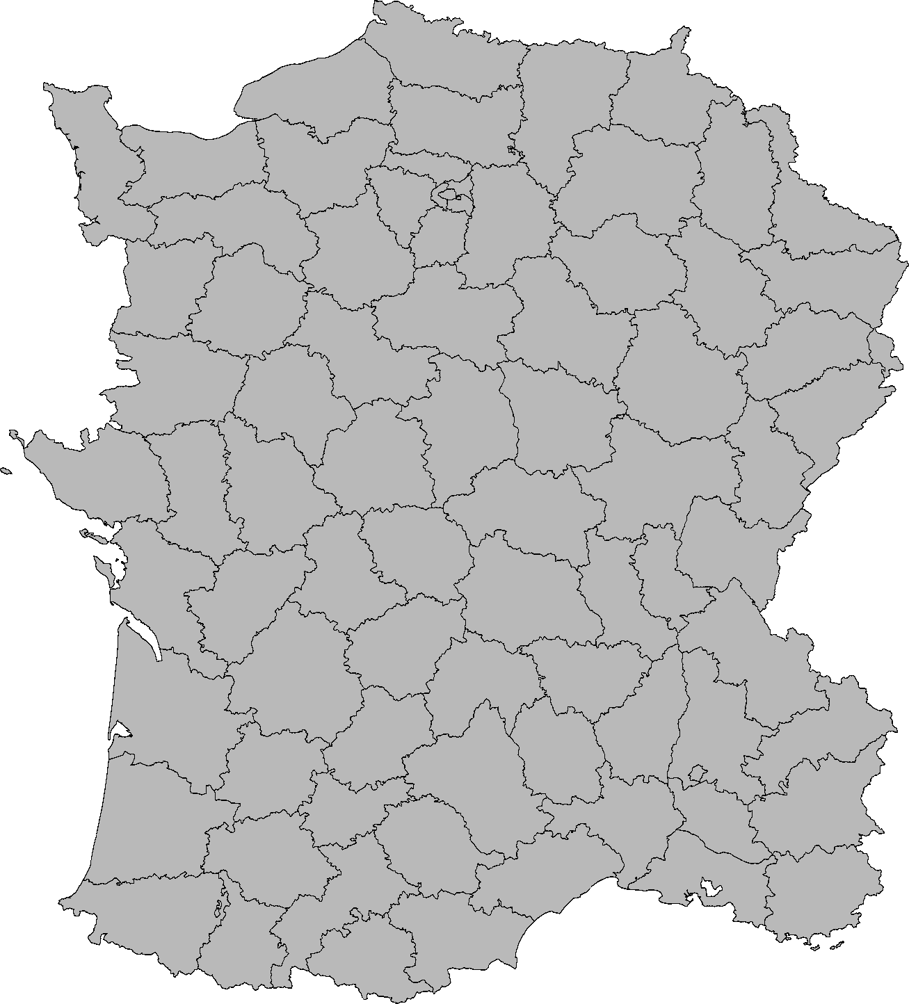 Image   Blank map of France with departments (Imperial Machines