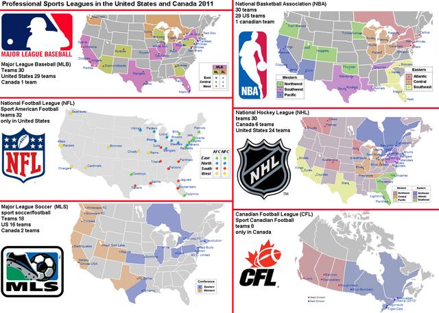 Map Of Us Baseball Teams - Map of us sports teams