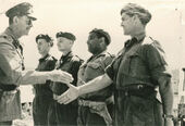 Capt. Leppe greeting SRA soldiers in Ottowa