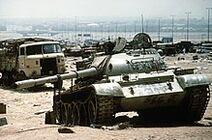 220px-Destroyed Iraqi T-55 on highway between Basra & Kuwait City 1991-04-18 1