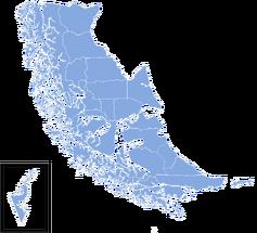 Mapa de la Región de Magallanes y de la Antártica Chilena