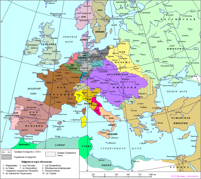 Map of Europe 1810