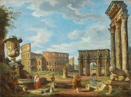 Capricio-of-roman-monuments-with-the-colosseum