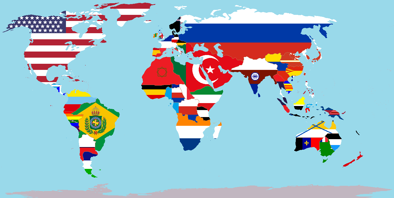 Image world political map with nations overlaid on their flags a world political map with nations overlaid on their flags a world of differenceg gumiabroncs Choice Image