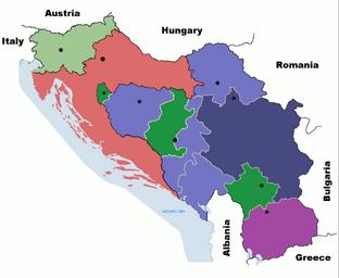 Карта Югославии, Хорватии и Словении