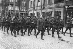 French forces marching thro Buers, Germany