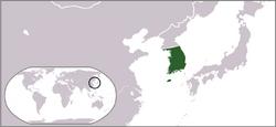 Locator map of South Korea 1945-50(藍色中國)