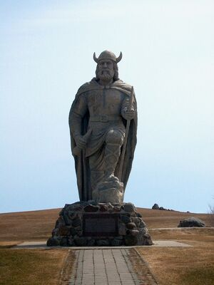 Viking statue in Helluland