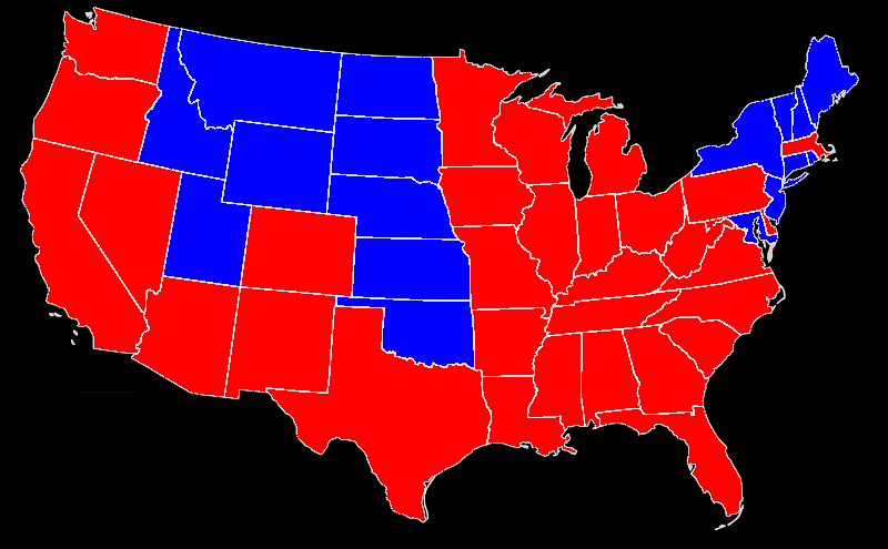 1952 State Map Dewey Elected