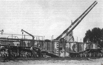 Крупнокалиберная артиллерия на железнодорожной платформе