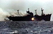 Cargo Ship under attack in Tanker war