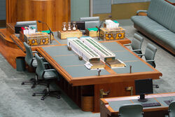 Australian House of Representatives centre desk, Hansard and dispatch boxes - Parliament of Australia