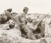 Armenian troops in a trench (Battle of Baku)