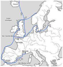 Mapa del primer viaje de Piteas