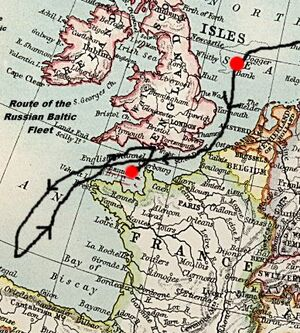 Route of the russian baltic fleet