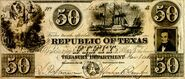 Republic of Texas Fifty Dollars