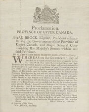 Proclamation Province of Upper Canada by Isaac Brock