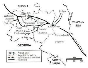 Карта операции в Чечне
