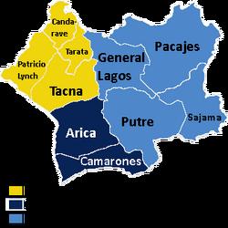 Región de Arica y Tacna provincias y comunas