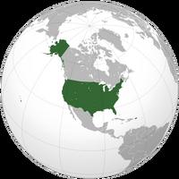 Estados Unidos con Puerto Rico (Proyección Ortográfica)