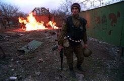 Чеченский боевик в Грозном