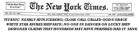 Titanic suvives NYT headline