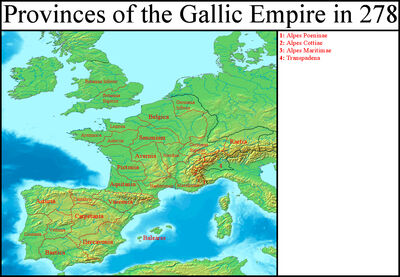 Provinces of the Gallic Empire in 278 (Gaul Rising)