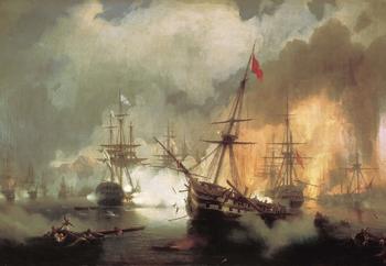 Сражение российского и британского флотов