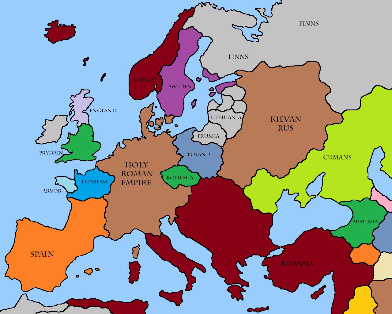 Map Europe 1200 Casami