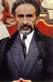 Haile Selassie in suit and cloak in 1960s