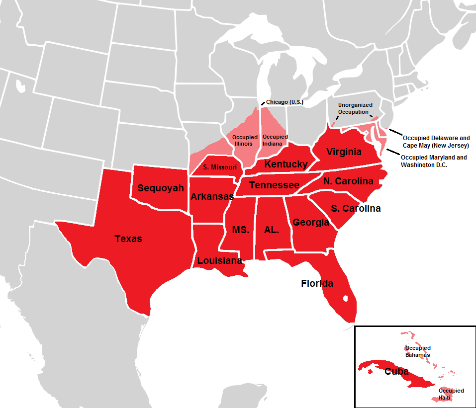 Confederate States Map Restorationist Confederacy (Victory at Gettysburg) | Alternative