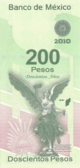 Billete $200 Mexico Bicentenario Reverso