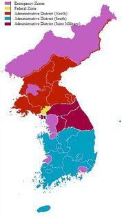 Redrawn koren administrative zones