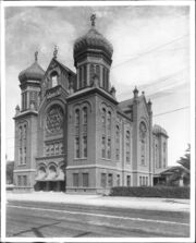 B'nai B'rith Synagogue (Temple), located on Hope and 9th Streets, Los Angeles, ca.1900 (CHS-5118)
