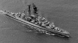 El crucero peruano Almirante Grau, buque insignia de la Marina de Guerra del Perú