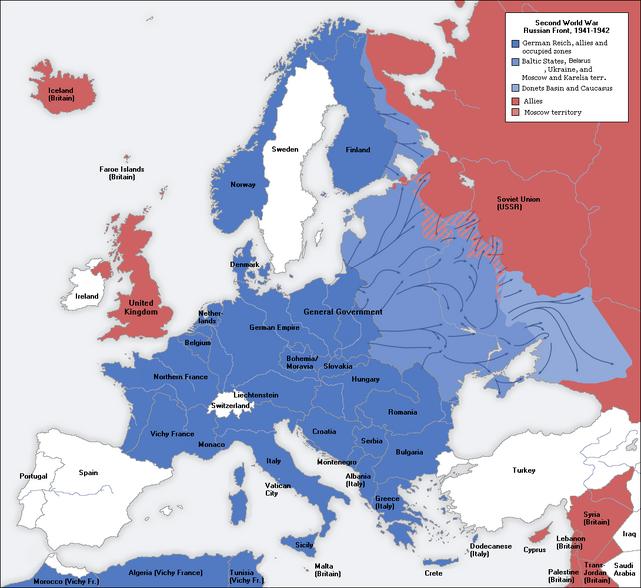 Second world war europe 1941-1942 map en