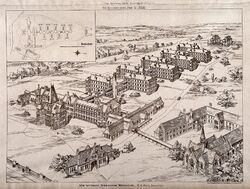 Bird's eye view of the Birmingham workhouse infirmary with a Wellcome V0012228