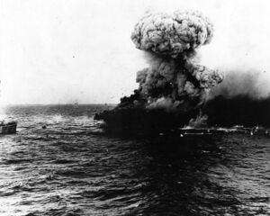 Large explosion aboard USS Lexington (CV-2), 8 may 1942