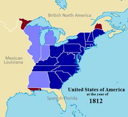 División Territorial EUA 1812