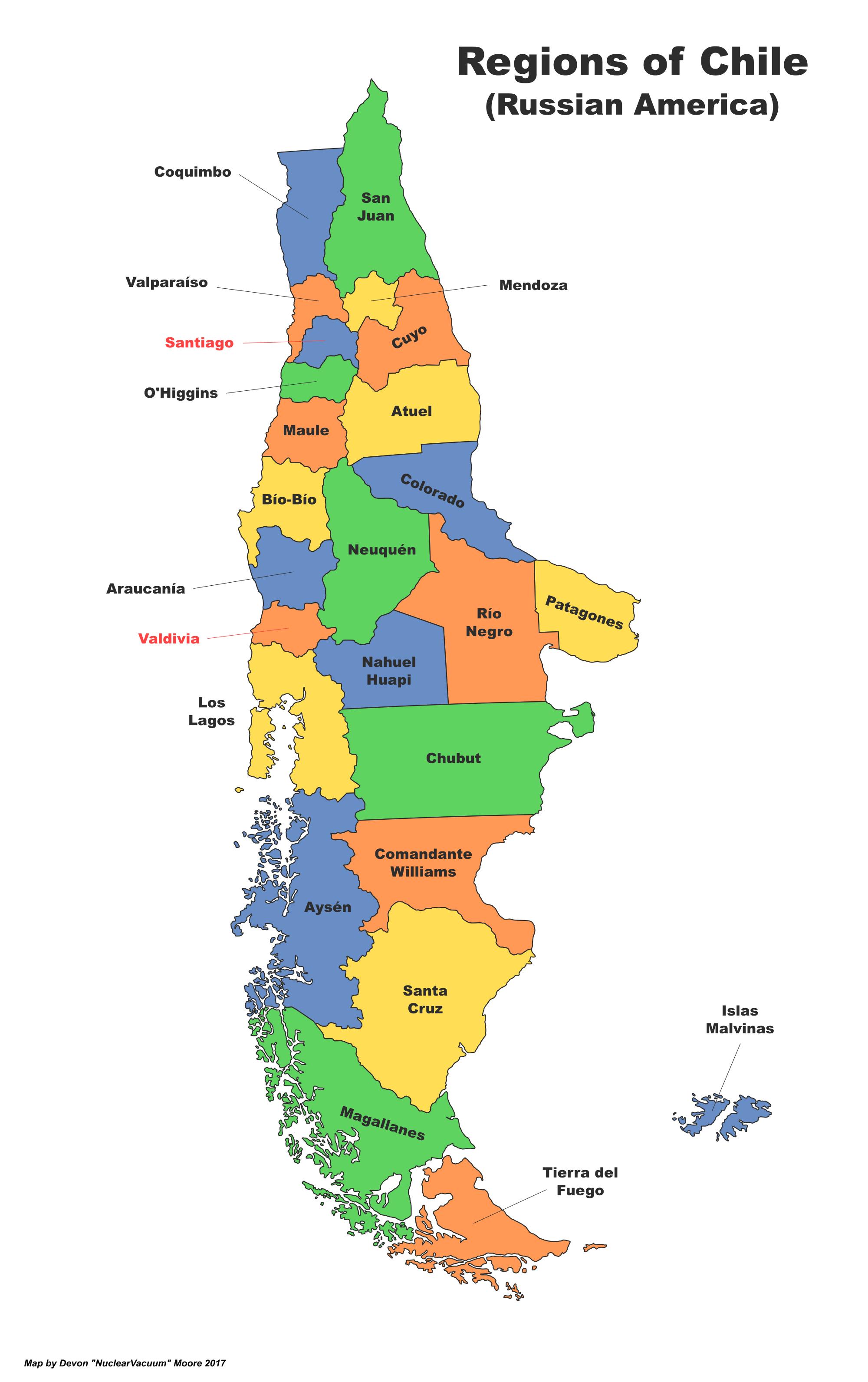 Chile (Russian America) | Alternative History | FANDOM ... on bolivia map, guatemala map, europe map, peru map, panama map, angola map, eritrea map, central america map, quebec map, columbia map, benin map, colombia map, aruba map, cuba map, spain map, pacific ocean map, punta arenas map, ecuador map, algeria map, south america map, united states map, france map, australia map, egypt map, tierra del fuego map, croatia map, china map, brazil map, cameroon map, japan map, canada map, latin america map, belgium map, argentina map, libya map,